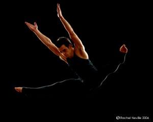 Shane Rutkowski, FCLC '09, performs a straddle jump. (Courtesy of Shane Rutkowski)
