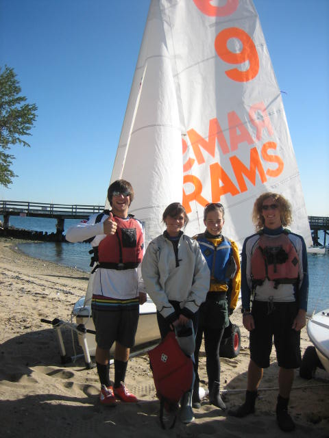 Sarah McKay, FCLC '12, second from left, is the only Lincoln Center student on the Fordham sailing team, which is based at Rose Hill. (Courtesy of Phil Krug)