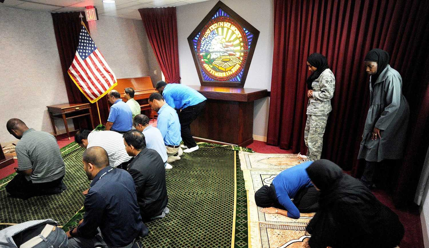 The Pentagon is one place where there's no discussion of whether it's appropriate for Muslims to pray near the site of the 9/11 attacks. Every Friday, Muslims gather to worship in a chapel built in the very space where a hijacked jetliner plunged into the Pentagon on Sept. 11, 2001.(Olivier Douliery/Abaca Press/MCT)