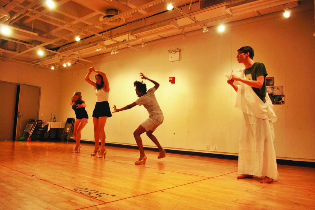 """Actors part of the new mainstage production, """"For a Barbarian Woman,"""" rehearse in Franny's Space. (Ai Elo/The Observer)"""