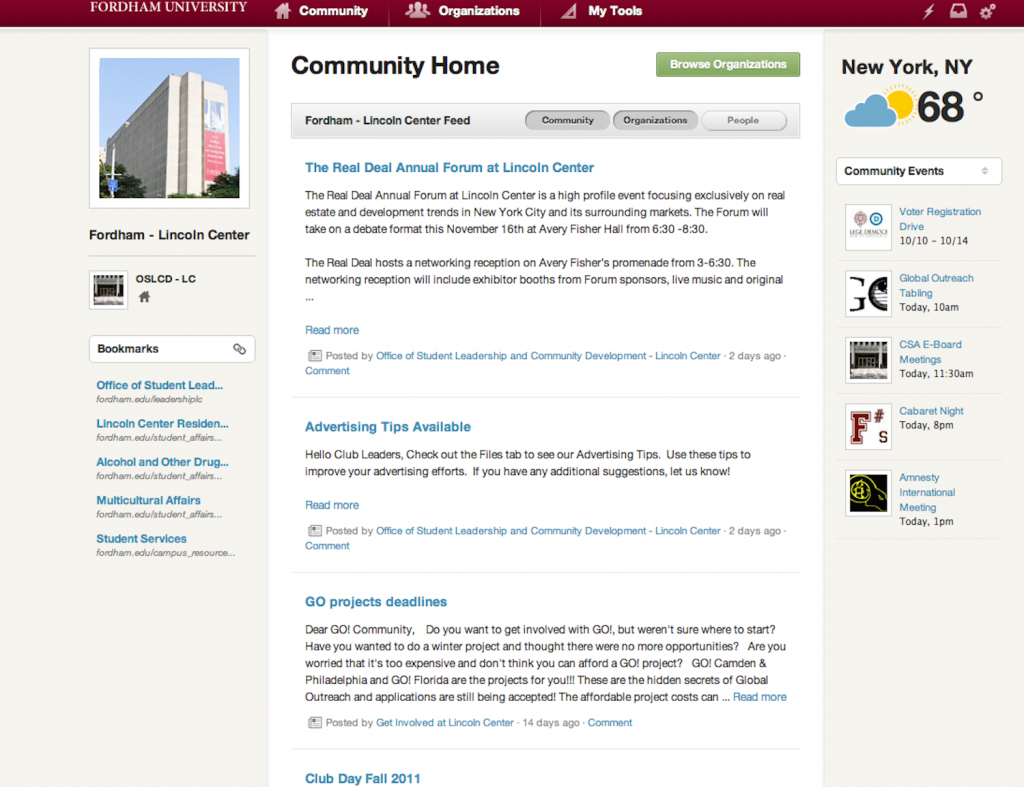 Org Sync provides a layout that students did not have access to when using campus groups.