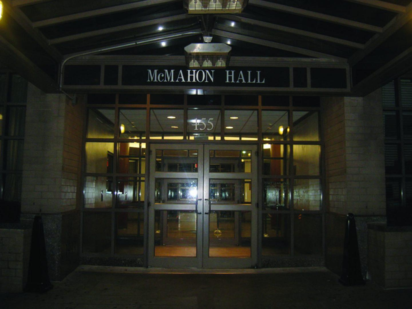 McMahon Hall's doors aren't exactly friendly to those students who don't have the means to pay outrageous housing prices. (Salma Elmehdawi/The Observer)