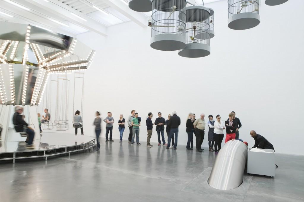 """The new exhibit """"Carsten Höller: Experience"""" at the New Museum features a carousel and a long line for the two story long slide. (Benoit Pailley/Courtesy of New Museum)"""