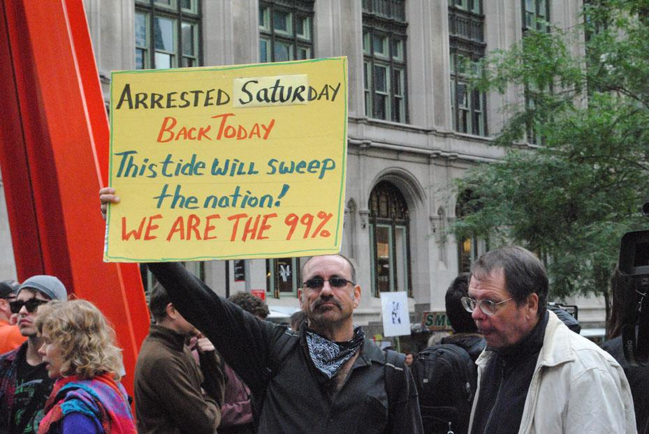 Protestors continue to occupy the space of Wall Street despite the complaints of nearby residents. (Charlie Puente/The Observer)