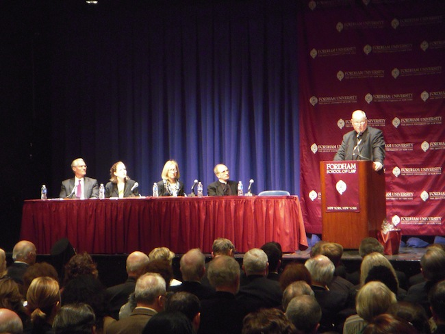 "Cardinal-Designate Timothy Dolan, Archbishop of New York, visited Fordham College at Lincoln Center's Pope Auditorium on Jan. 24 to speak at the inaugural event of Fordham Law School's ""Law and the Gospel of Life"" lecture series. The Archbishop spoke about the Catholic Church's dedication to the culture of life as opposed to what he feels is a current culture of death in lawmaking today. (Harry Huggins/The Observer)"