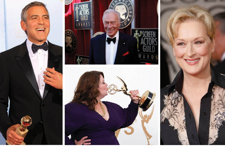 George Clooney (far left), Christopher Plummer (top middle), Melissa McCarthy (bottom middle), Meryl Streep (far right)—all nominated for Oscars. (Al Seib/Los Angeles Times/MCT, Jay L. Clendenin/Los Angeles Times/MCT, Allen J. Schaben/Los Angeles Times/MCT, Kirk McKoy/Los Angeles Times/MCT)