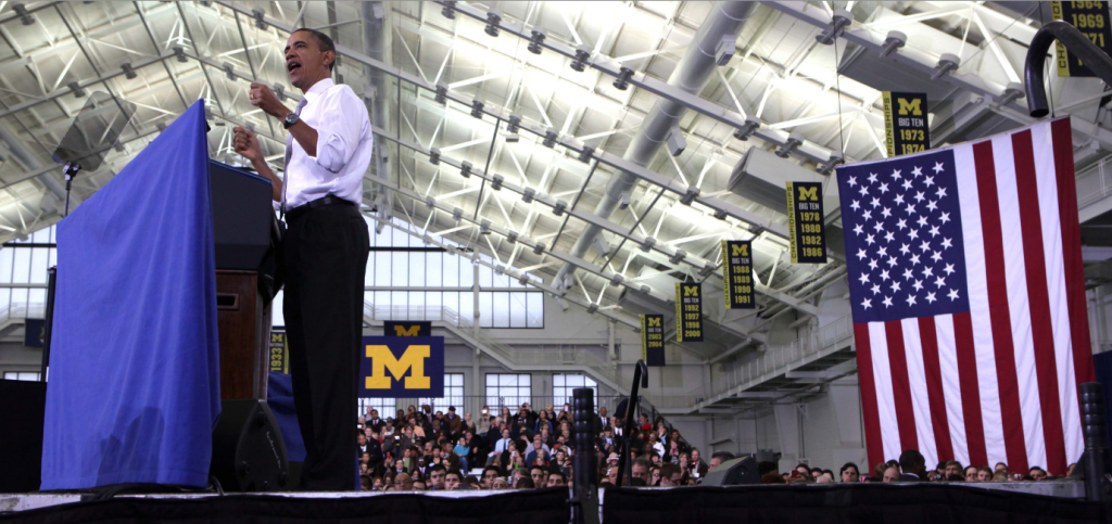 President Barack Obama continues to defend his college education proposal during his speech at the University of Michigan. (Eric Seals/Detroit Free Press/MCT )