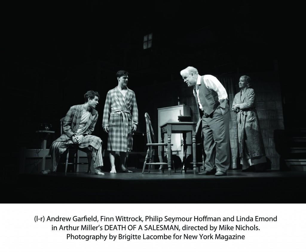 "Andrew Garfield, Finn Wittrock, Phillip Seymor Hoffman and Linda Edmond in Arthur Miller's ""Death of a Salesman,"" directed by Mike Nichols. (Brigitte Lacombe/New York Magazine)"