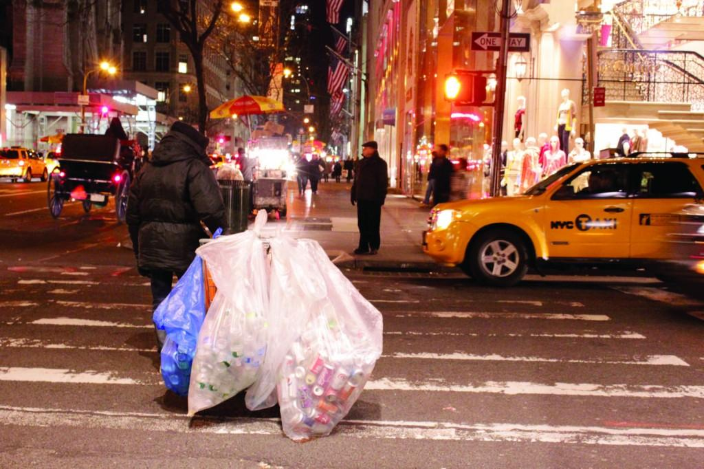 While students are recycling their garbage in McMahon Hall, people in the streets of New York City are doing it without the competition. (Ayer Chan/The Observer)