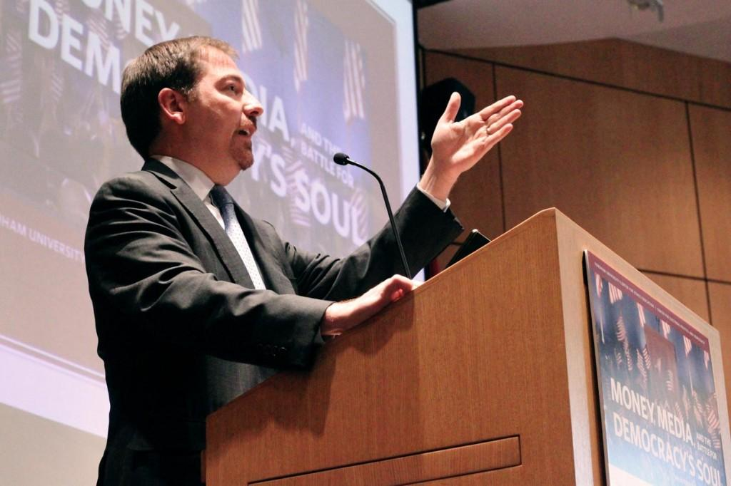 Chuck Todd, chief White House correspondent and political director for NBC News, was one of the many speakers at the Money, Media and the Battle for Democracy's soul event at Fordham on Monday. Sara Azoulay/The Observer