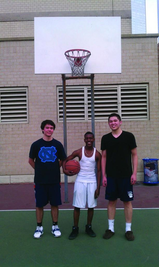 Freshmen Yuta Kobayashi, Josh Tarpav and Tristan Paguio gutted out a strong performance to win Fordham's 3 on 3 Basketball Tournament. (Courtesy of Ojala Naeem)