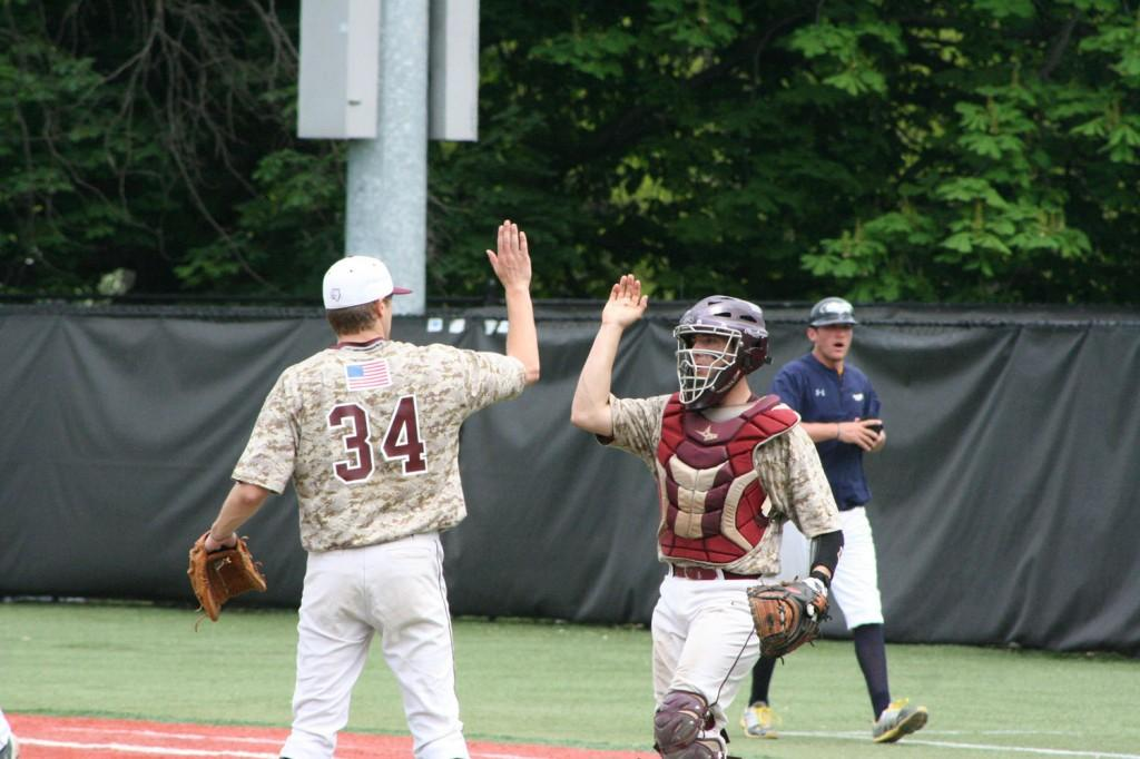Fordham starting pitcher Joseph Charest celebrates a successful inning. (Courtesy of Fordham Sports)