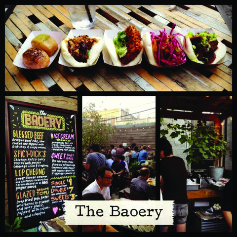 Clockwise from top: dinner baos and dessert bao, a view of the Baoery's kitchen, customers sitting on the Trophy Bar's patio, the Baoery's menu. (Rex Sakamoto/The Observer)