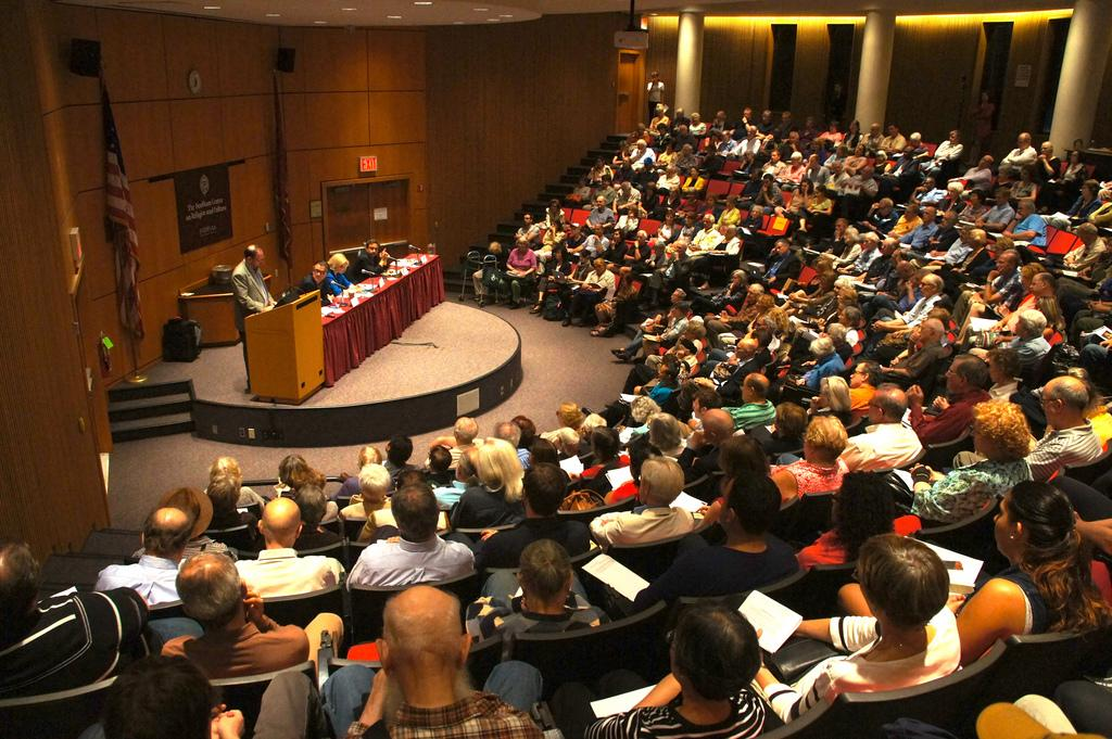 Students filled the McNally Amphitheater on Sept. 12 for the Apocalypse Now lecture. (Tavy Wu/The Observer)