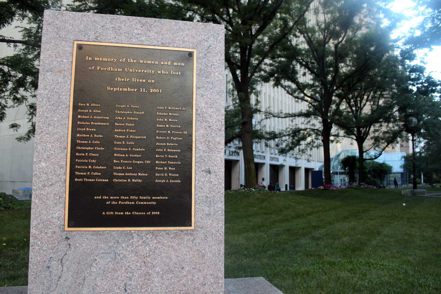 Fordham College at Lincoln Center (FCLC)'s 9/11 monument lists the names of students lost in the 2001 terrorists attacks. (Sara Azoulay/The Observer)