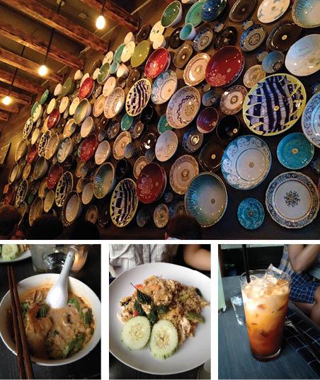 Top: A wall of ceramic bowls, Bottom Right: Tom Ka Soup, Middle: A glass of Thai Iced Tea, Bottom Left: Basil Fried Rice (Rex Sakomoto/The Observer)