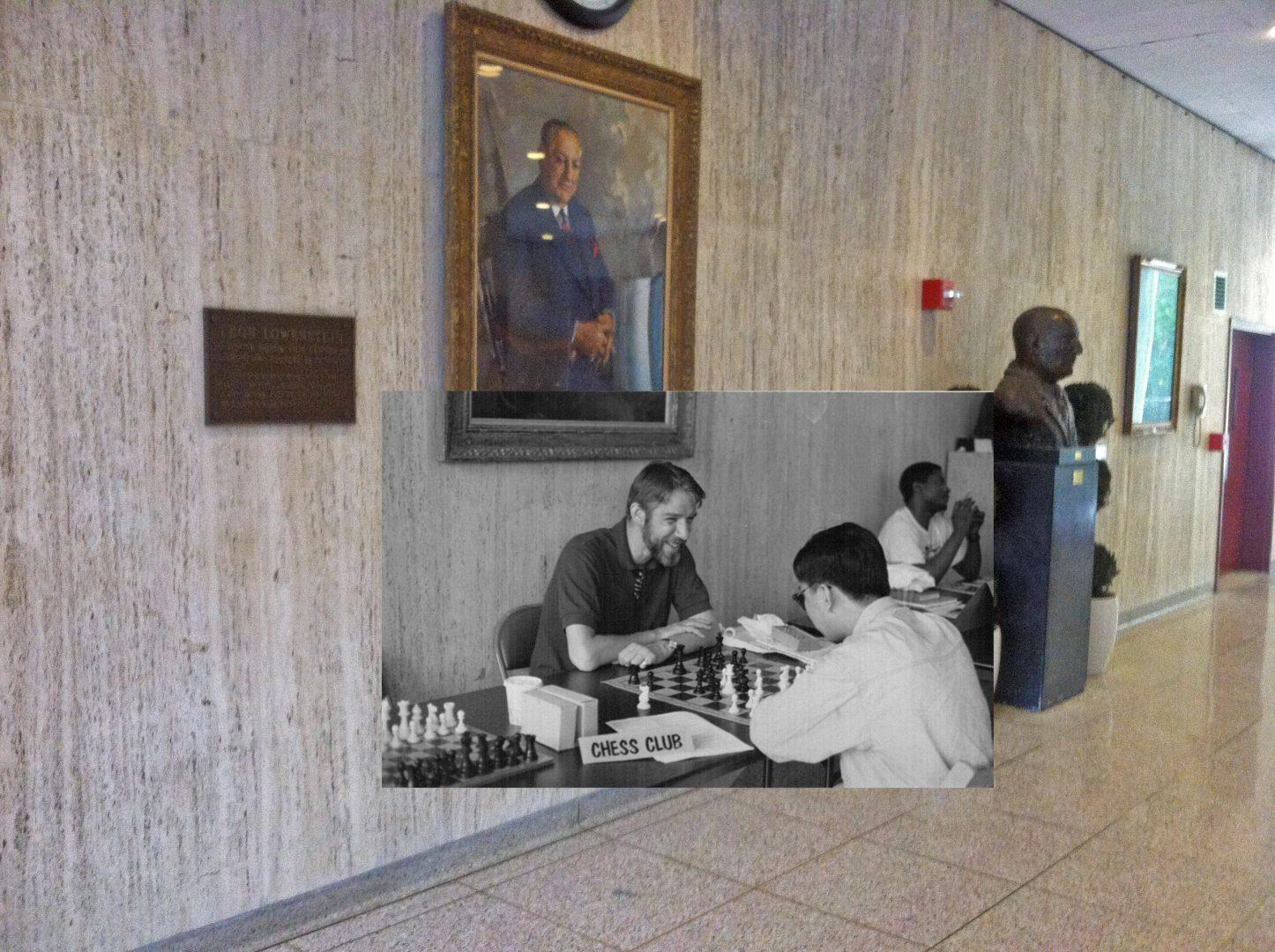 Black and white photos of Club Day 1992 laid over present-day Lowenstein Lobby reminds us all that we are not the first, or the last, to walk these halls. (Photo Illustration Ian McKenna/Observer Archival Photo).