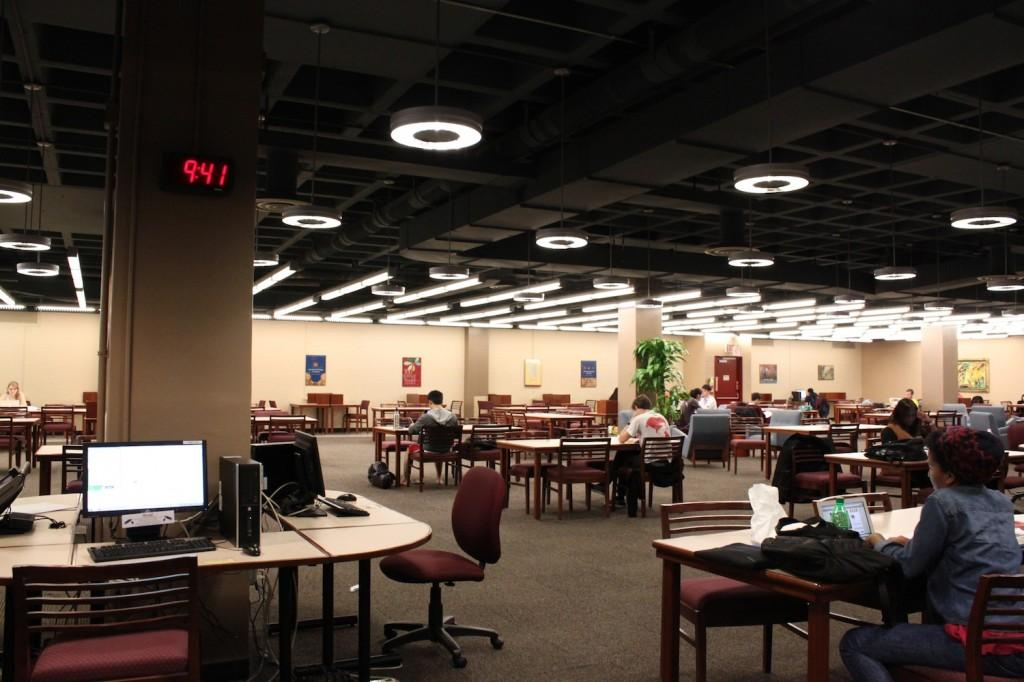 The stark landscape of Fordham's Quinn Library is the perfect place to take in some fluorescent light, enjoy the gentle whirr of printers and pretend you're a heartless, highly efficient studying machine. (Ayer Chan/The Observer)