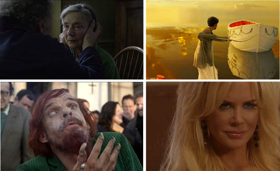 """Scenes from various films playing at the 50th annual NYFF. Clockwise from top left: """"Amour,"""" """"Life of Pi,"""" """"The Paperboy"""" and """"Holy Motors."""" (Clockwise: Courtesy of movieclipstrailers; joblomovienetwork; filmfestivalvideos; artificialeyefilm/youtube.com)"""