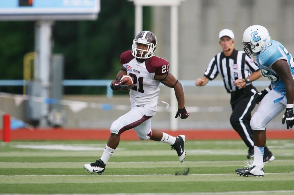 Running back Carlton Koonce, FCRH '13, was unable to break through against the Mountain Hawks. (Courtesy of Fordham Sports)