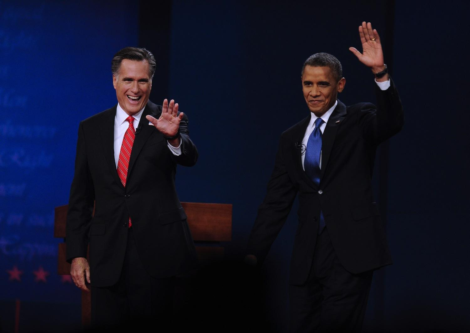 Republican presidential candidate Mitt Romney, left, and U.S. President Barack Obama attend the first presidential debate at Denver University on Wednesday, October 3, 2012, in Denver, Colorado. (Zhang Jun/Xinhua/Zuma Press/MCT)