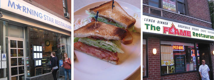 Left to right: Morning Star Restaurant, whose BLT earned a 1/5 rating; The Olympic Flame BLT, Rex's favorite of the three; The Flame Restaurant, just three blocks from Fordham. (Rex Sakamoto/The Observer)