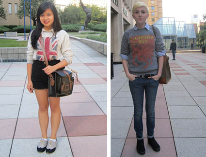 Left: Kimberly Truong, FCLC '15, in a top and sweater from Buffalo Exchange. Right: Cassie Spain, FCLC '15, in a top and belt from Red White & Blue and a bag from the Salvation Army. (Sherry Yuan/The Observer)