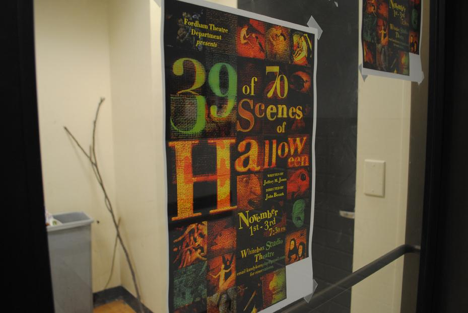 """Director John Bezark, FCLC  '14, gives the audience members a chance to reorganize the scenes of """"39 of 70 Scenes of Halloween"""" in any manner they choose. (Ian McKenna/The Observer)"""