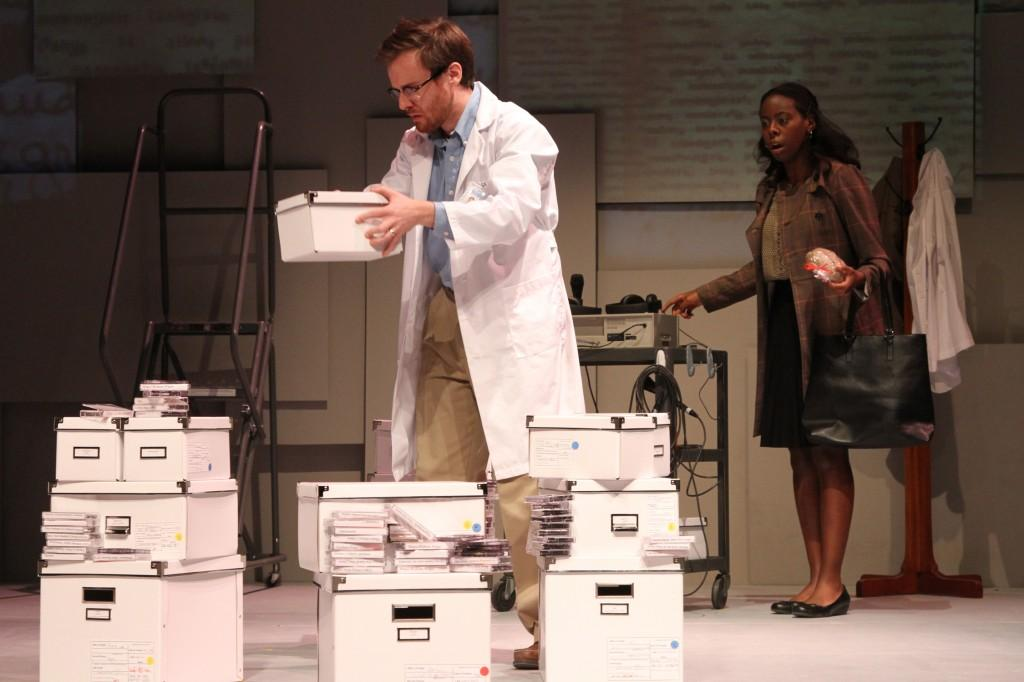 Left: Chris Stahl, FCLC '13 stars as George, a man who devotes his life to archiving languages and who is unexpectedly left by his wife. (Courtesy of Carla Jackson/Theater Department)