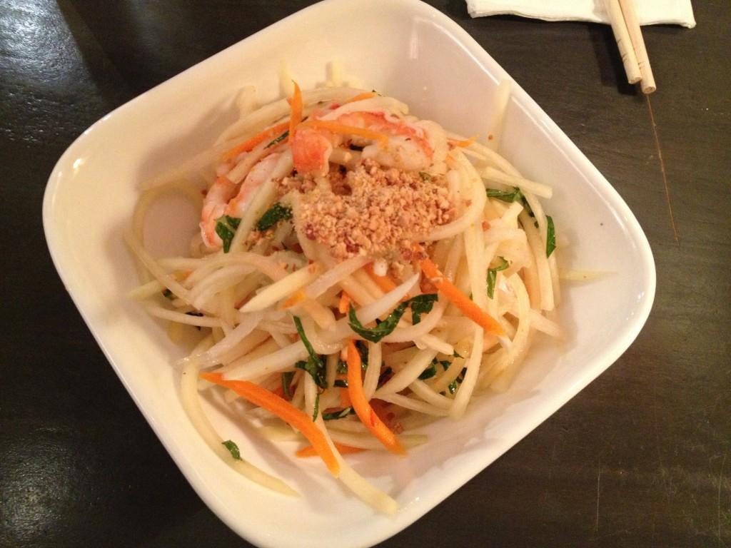 Green papaya salad with tiger shrimp, crushed peanuts and cilantro. (Rex Sakamoto/The Observer)