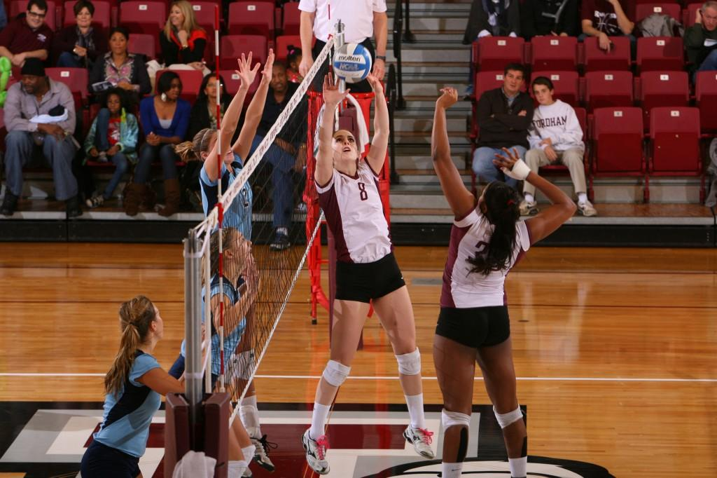 The Fordham volleyball team banded together to win their final game of the 2012 season on Senior Day. (Courtesy of Fordham Sports)