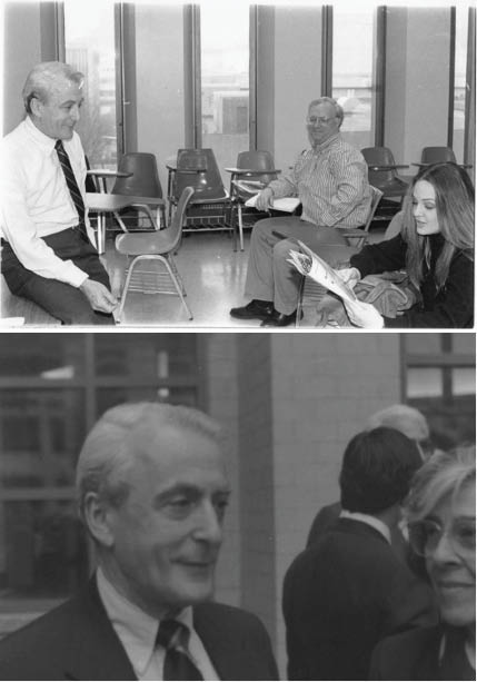 """op: Dembo shares her cheery demeanor with members of the Fordham community. This photo originally ran in The Observer's March 31 issue in 1993 to mark Dembo's move to NPR as acting president.  Bottom: Dembo attends """"Darkness and Light: New York City in 1968,"""" an event he supervised in 1994. (Top: Sean Gallagher/Observer Archival Photo; Bottom: Nena Conte/Observer Archival Photo)"""