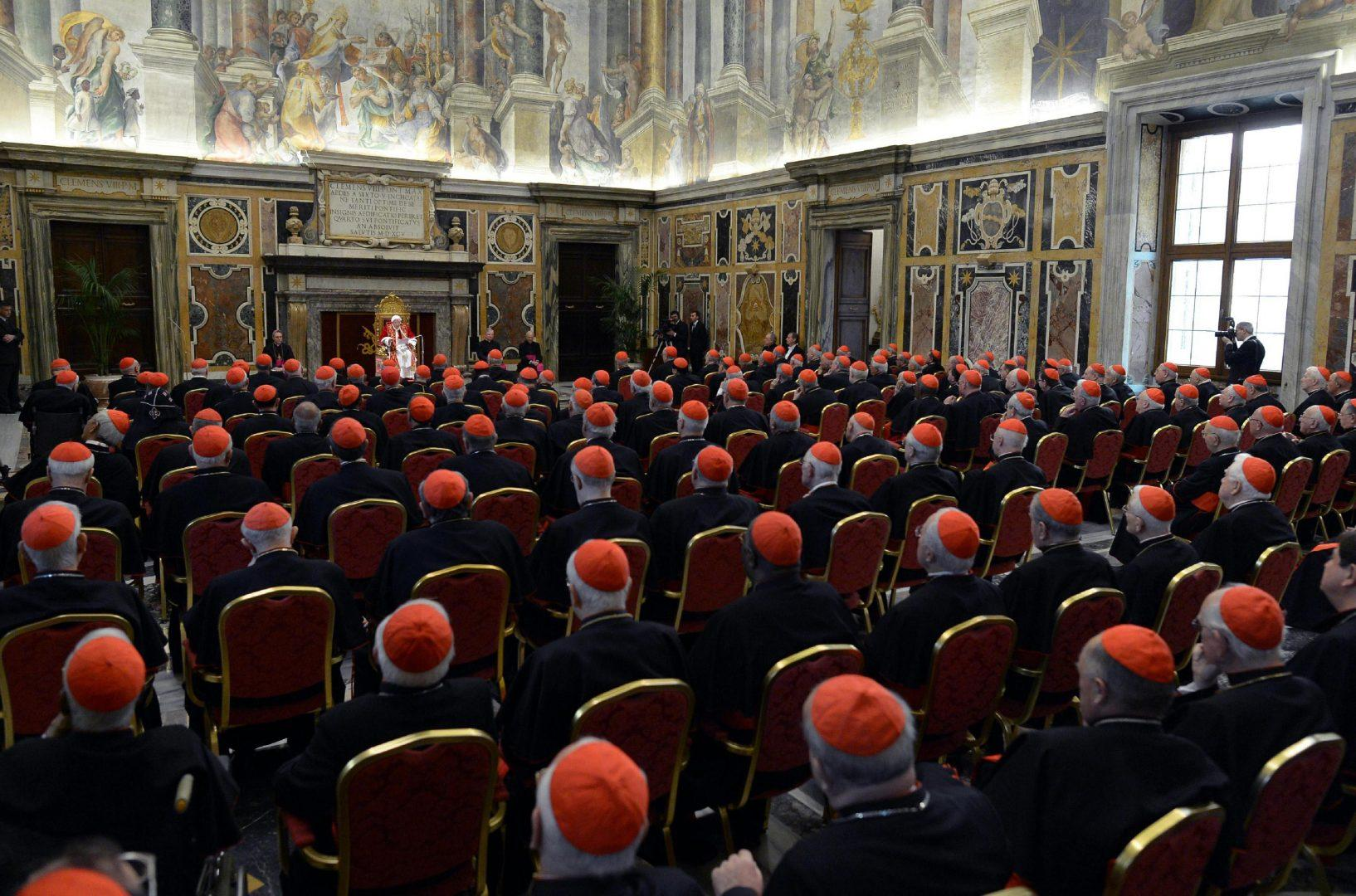 Pope Benedict XVI pledged obedience to his successor at a meeting of cardinals on his last day as pontiff on Thursday, February 28, 2013, in Vatican City. ''Among you is the future pope, to whom I promise my unconditional reverence and obedience,'' Benedict said. (ANSA/Zuma Press/MCT)