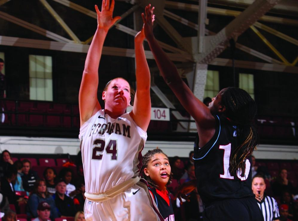 Forward Samantha Clark, FCRH '16, stepped up in a big way, helping the team to a 22-win season. (Courtesy of Fordham Sports)