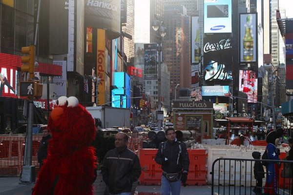 Elmo and his friends in Times Square are now the subjects of a police investigation following recent reports of harassment and assault.  (Megan O'Hara/The Observer)