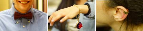 From left to right: A student sporting a bow tie; a Marc Jacobs perfume bracelet; an ear cuff. (Tavy/