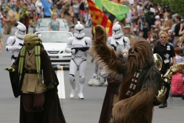 """Chewbacca and other """"Star Wars"""" characters participate in a parade. (Photo courtesy of WikiCommons)"""