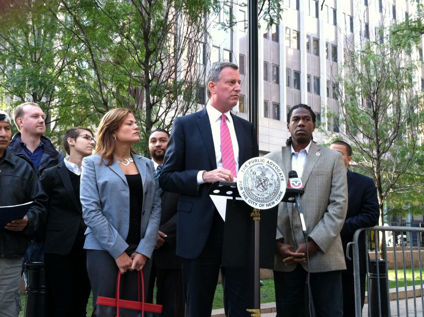 Candidate Bill de Blasio with Council Member Melissa Mark-Viverito and Council Member Jumaane Williams (photo courtesy of Bill de Blasio via Flickr)