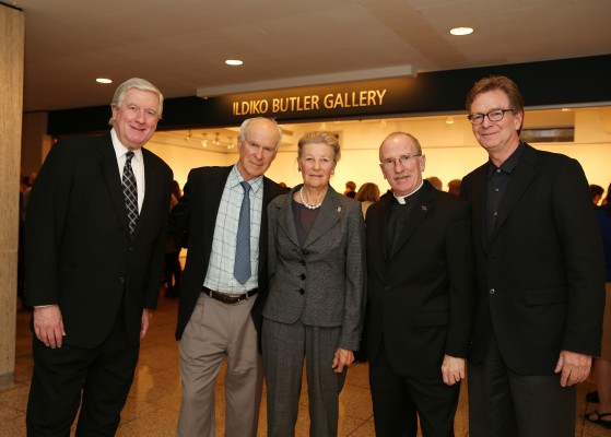 The Butlers (center) with the Rev. Robert R. Grimes, S.J., dean of FCLC, the Rev. Joseph McShane, S.J., president of Fordham University, and Professor  Joseph Lawton, visual arts program director (Courtesy of Guillaume Roemaet).