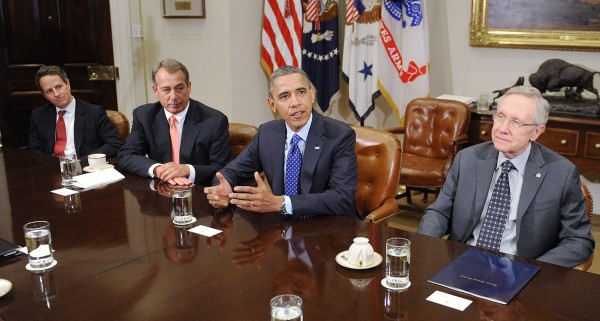 House Speaker John Boehner, President Barack Obama and Majority Senate Leader Harry Reid were key players in the , here shown meeting on Nov. 16, 2012. (Olivier Douliery/Abaca Press/MCT)