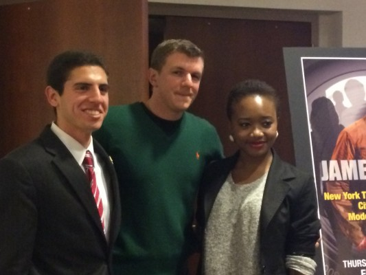 Left to Right: President of College Republicans Luke Zaro, James O'Keefe and President of ASILI Tochi Mgbenwelu. (Ian McKenna/The Observer)