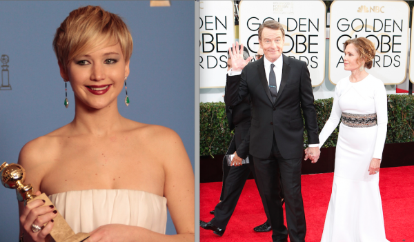 LEFT: Jennifer Lawrence backstage at the 71st Annual Golden Globe Awards show at the Beverly Hilton Hotel on Sunday, Jan. 12, 2014, in Beverly Hills, Calif. (Lawrence K. Ho/Los Angeles Times/MCT)  RIGHT: Bryan Cranston arrives for the 71st Annual Golden Globe Awards show at the Beverly Hilton Hotel on Sunday, Jan. 12, 2014, in Beverly Hills, Calif. (Wally Skalij/Los Angeles Times/MCT)