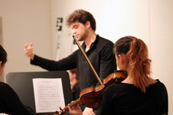 Student+musicians+perform+during+the+chamber+orchestra%E2%80%99s+rehearsal+on+Monday%2C+Feb.+12+in+Franny%E2%80%99s+Space.+%28Tyler+Martins%2FThe+Observer%29