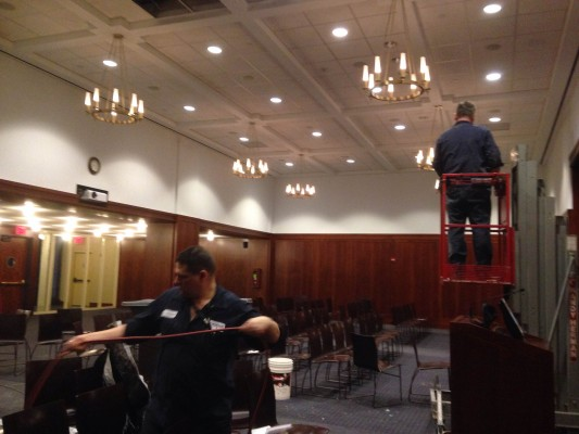 Part of the 12th Floor Lounges ceiling tiles were damaged because of snow. (Adriana Gallina/The Observer)