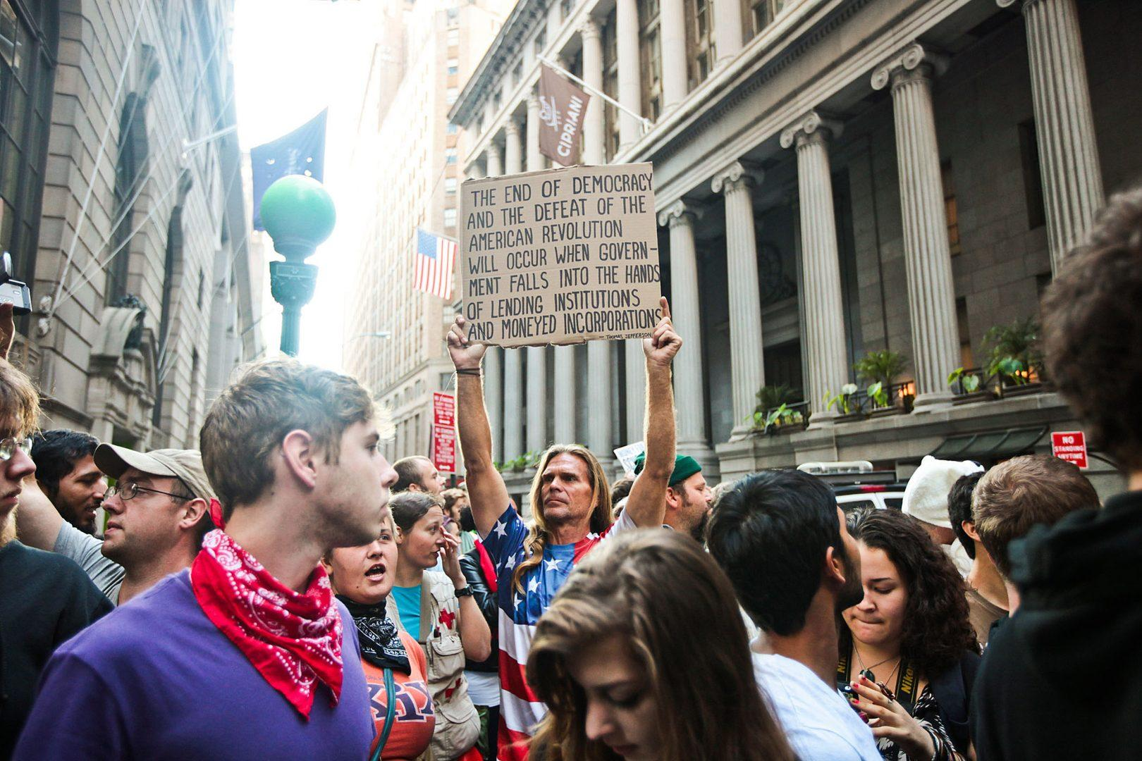 Protesters take to the streets of Lower Manhattan to celebrate the first Anniversary of the Occupy Wall Street movement in Manhattan on September 17, 2012. (Courtesy Byron Smith/Zuma Press via MCT)
