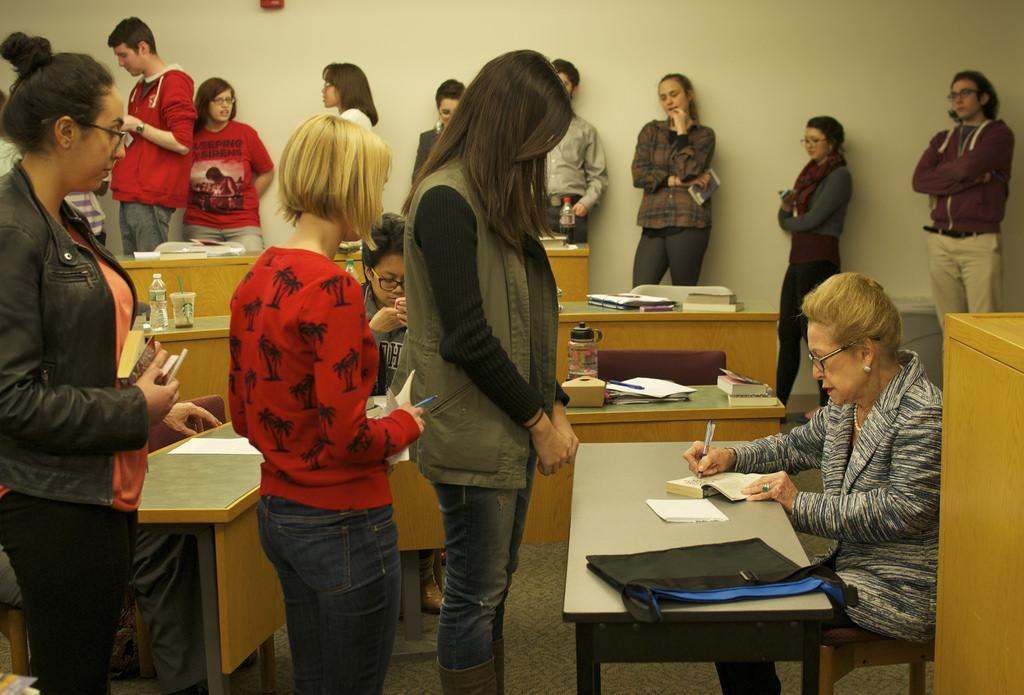 Mary Higgins Clark (left) speaks to Professor of English Mary Bly's Publishing Theory and Practice class on April 29. She spoke about her career, the writing industry and her new book