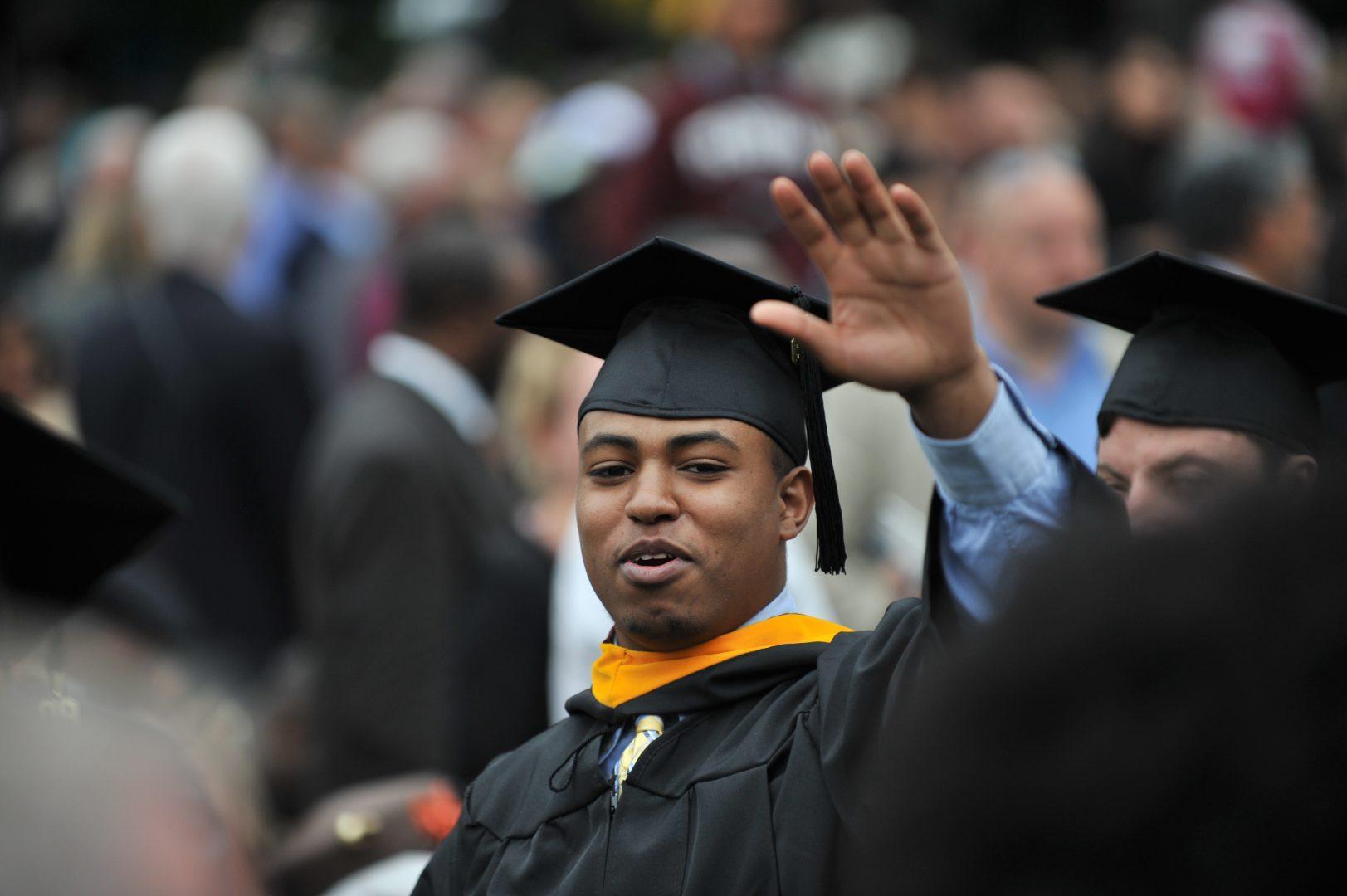 Nahom Kidanemariam at his graduation from Fordham University, Gabelli School of Business.