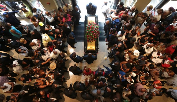 The casket of Michael Brown exits Friendly Temple Missionary Baptist Church at the end of his funeral on Monday, Aug. 25, 2014. (Robert Cohen/St. Louis Post-Dispatch/MCT)