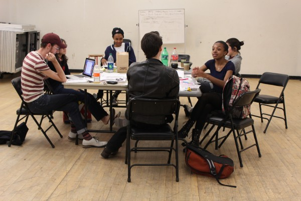 Students discussing upcoming theatre productions for Fordham's 2014 Studio Season. (Isabel Frias/The Observer)
