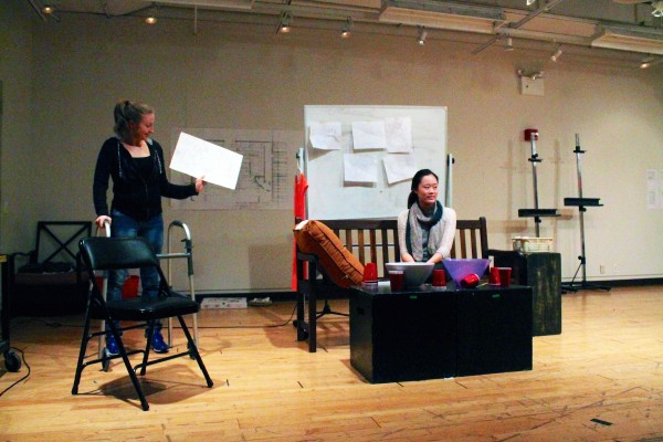 Meaghan McLoed, FCLC '15, and Michele Ang, FCLC '16, rehearse for mainstage show,